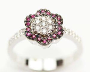 Inele Inel din aur 18k cu diamante şi rubine
