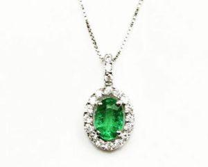 Lanțuri și coliere Lanţ din aur 18k cu diamante şi smarald