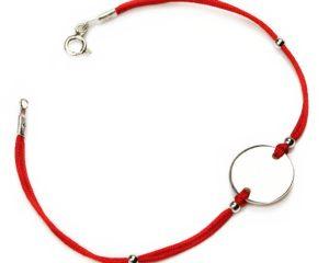 Brățări Brăţară din argint cu şnur roşu