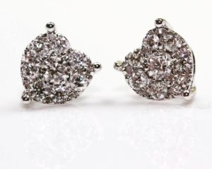 Cercei Cercei din aur alb 18k cu diamante
