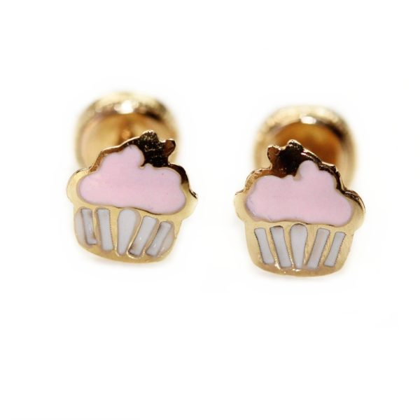 Bijuterii copii Cercei din aur Cupcakes