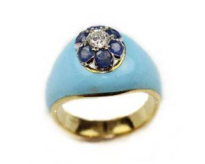 Inele Inel din aur 18k cu diamante şi safire