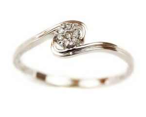 Inele Inel din aur alb 18k cu diamante