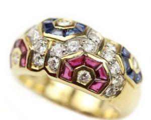 Inele Inel din aur 18k cu diamante, rubine şi safire