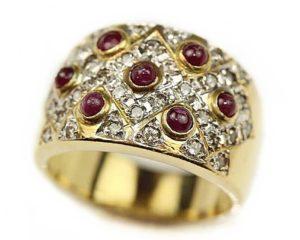 Inele Inel din aur 18k cu diamante si rubine