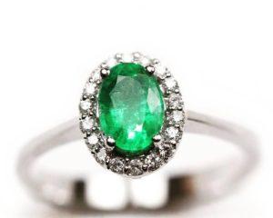 Inele Inel din aur alb 18k cu diamante şi smarald