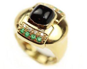 Inele Inel din aur 18k cu diamante şi smaralde