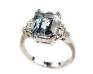 Inele Inel din aur alb 18k cu diamante şi acvamarin