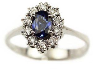 Inele Inel din aur alb 18k cu diamante şi safir