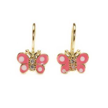 Cercei din aur pentru copii fluturasi roz