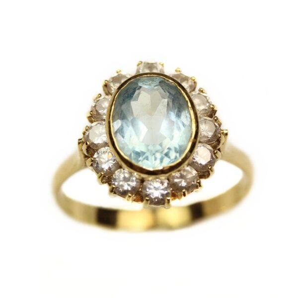inel din aur 18k cu topaz bleu