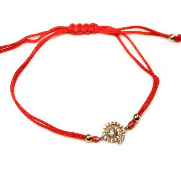 Bratara din aur cu snur rosu