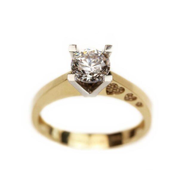 Inel de logodna din aur cu inimioare