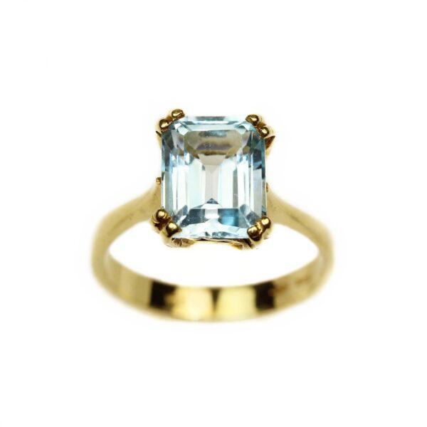 Inel din aur 18k cu piatra bleu