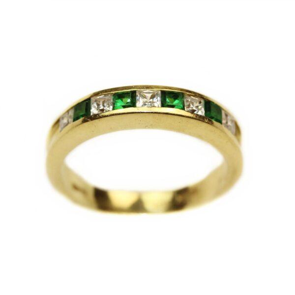 Inel din aur 18k cu pietre verzi