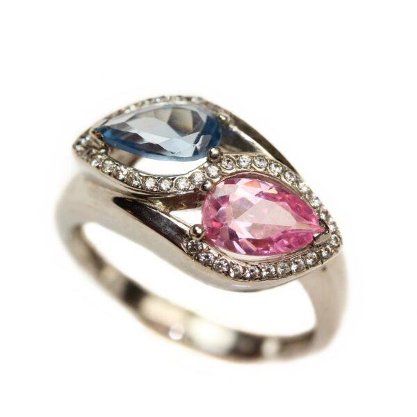 Inel din aur alb 18k cu acvamarin si turmalina roz