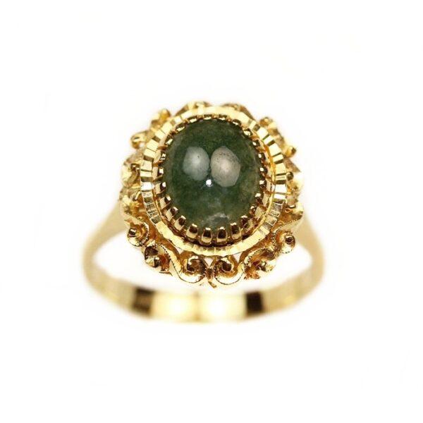 Inel din aur galben 18k cu jad
