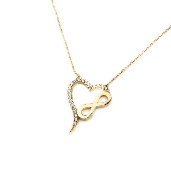 Lant din aur cu inima si semnul infinitului