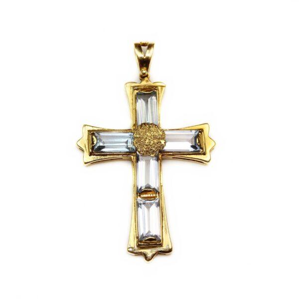 Pandantiv din aur 18k cruce cu acvamarin