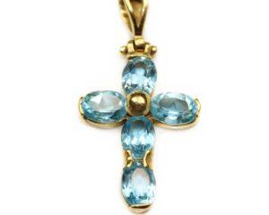 Pandantiv din aur 18k cruce cu pietre bleu