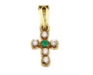 Pandantiv din aur cruce cu piatra verde