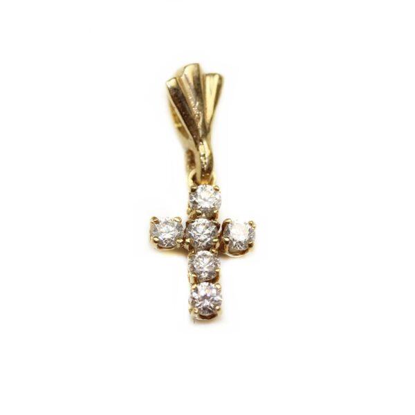 Pandantiv din aur galben 18k cruce