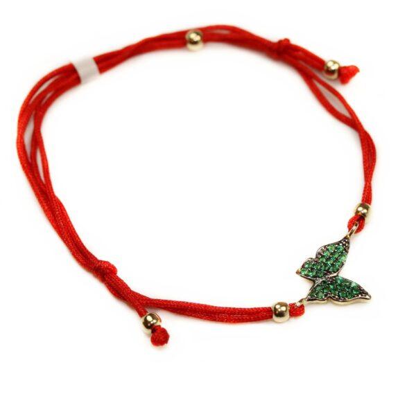 Bratara cu snur rosu si fluturas verde
