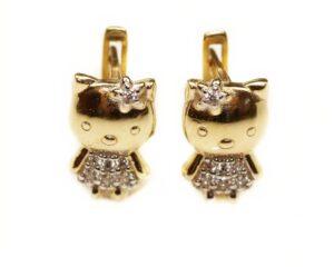 Cercei din aur 14k pentru copii cu pisicute