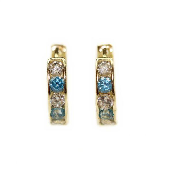 cercei din aur pentru copii cu pietre bleu