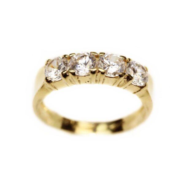 Inel din aur galben 18k cu zirconii