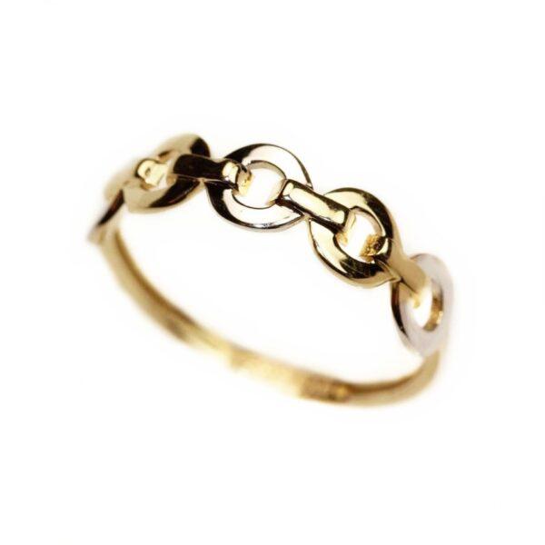 Inel din aur galben si aur alb cercuri