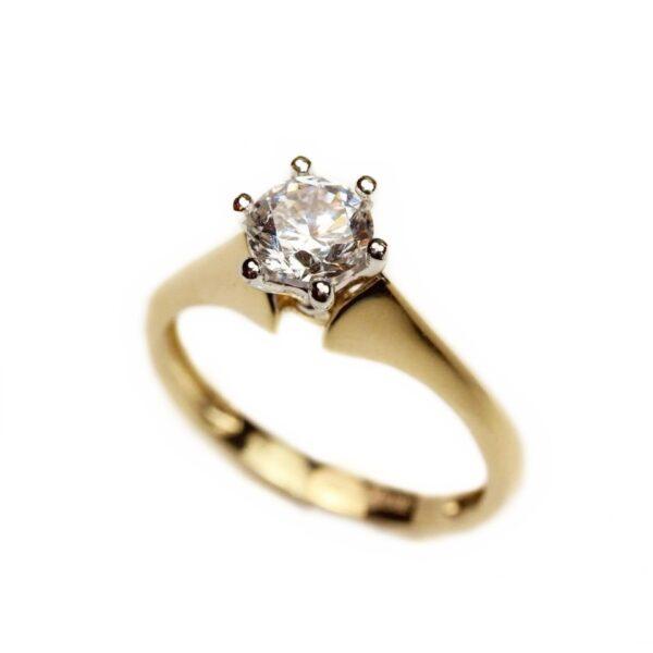 Inel de logodna din aur galben 14k