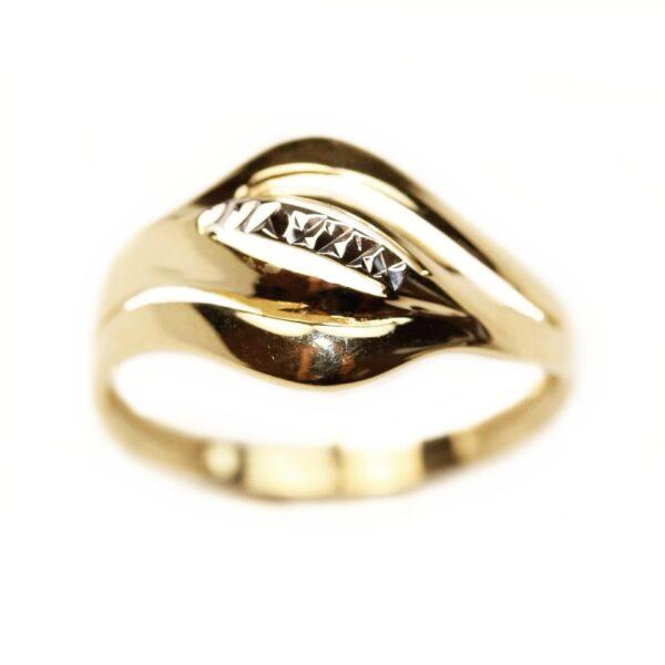Inel din aur galben si aur alb 14k