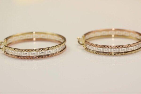 Cercei rotunzi din aur galben, alb si roz
