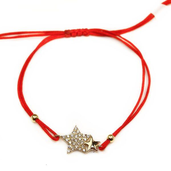 Brățară cu șnur roșu și stele din aur