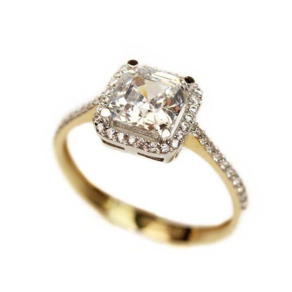Inel de logodna cu piatra patrata