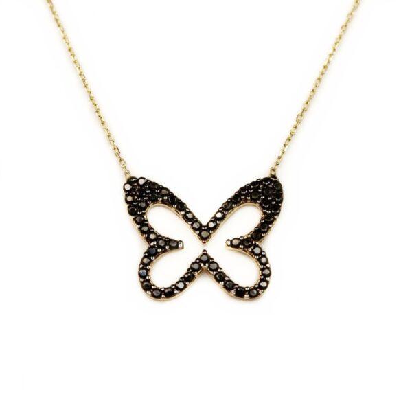 Lant din aur cu pandantiv fluture cu pietre negre