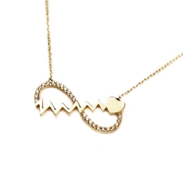 Lant din aur semnul infinitului si inimioara