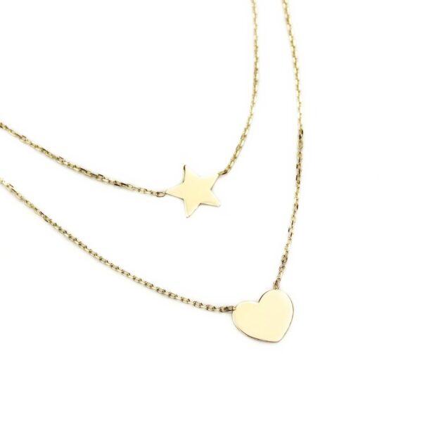 Lant dublu din aur stea si inima