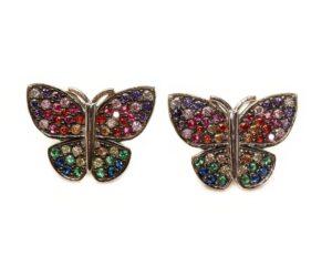 Cercei din argint fluturi multicolori
