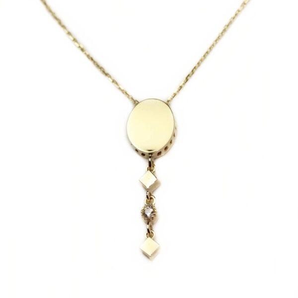 Lant din aur galben 14k cu pandantiv oval