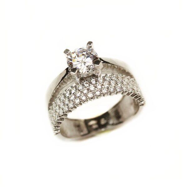 Inel din argint tip verigheta si inel logodna