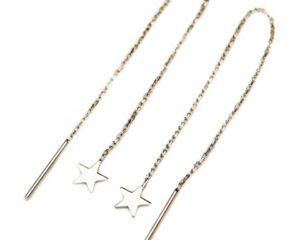 Cercei din argint cu lant si stea