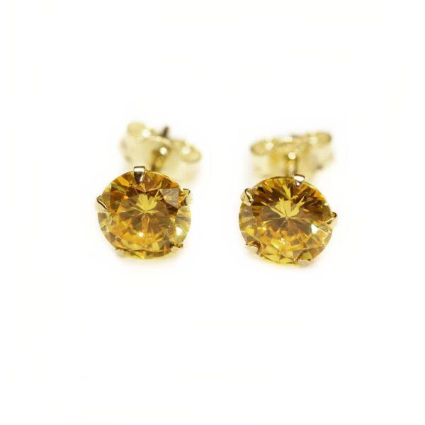 Cercei din aur cu piatra galbena