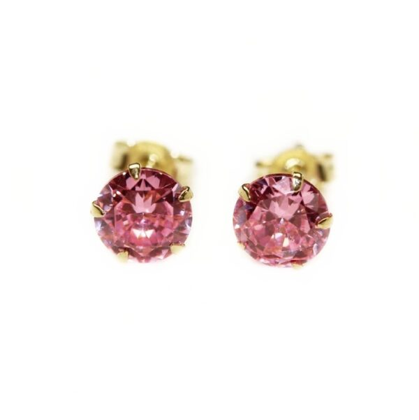 Cercei din aur cu surub si piatra roz