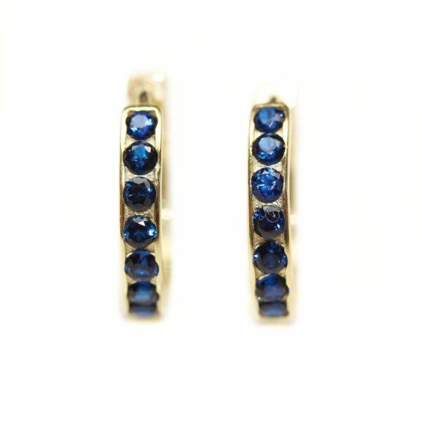Cercei din aur pentru copii cu pietre albastre