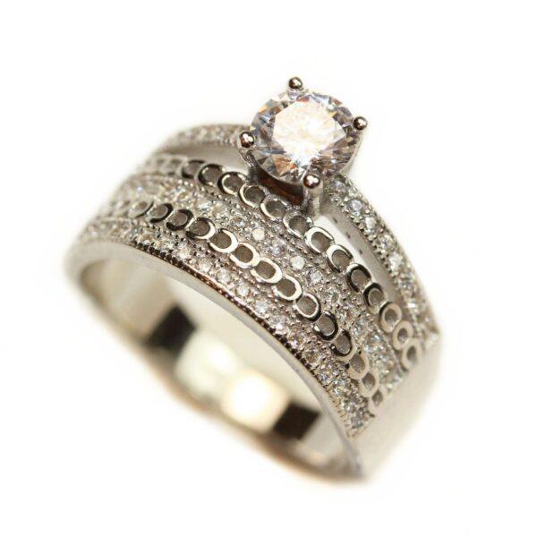Inel din argint tip inel de logodna si verigheta