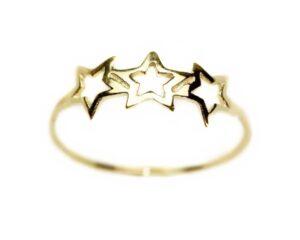 Inel din aur galben 14k cu stele