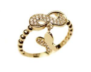 Inel din aur infinit si fluture