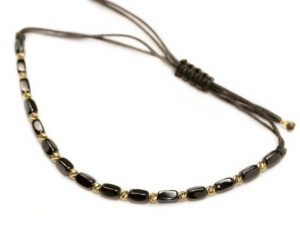Bratara cu bilute din aur, hematite si snur textil reglabil gri